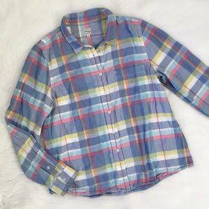 Madewell Madras Plaid Boyshirt Button Up Shirt